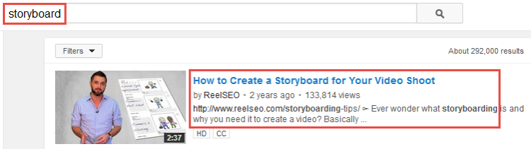 youtube rankings storyboard